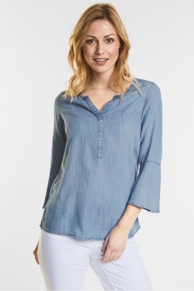 CECIL - Denim Bluse im Tunika Style in Mid Blue Wash