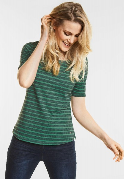 CECIL Streifen Basic Shirt Jella in Clover Green