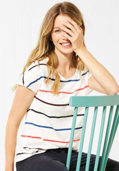 CECIL - T-Shirt mit bunten Streifen in Pure Off White