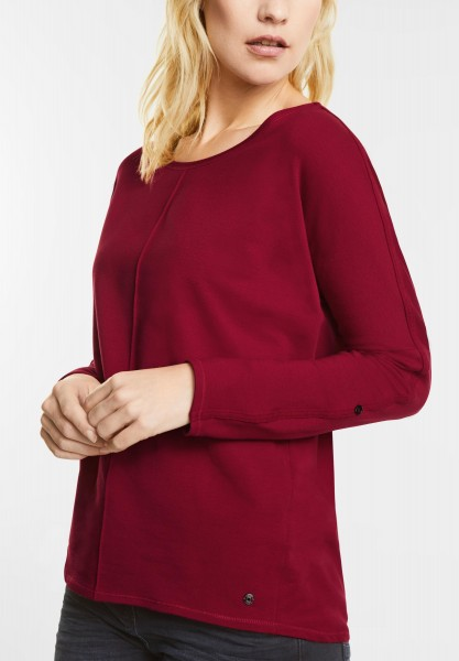 CECIL - Weiches Longsleeve Valentina in Cranberry Red