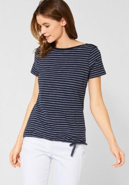 CECIL - T-Shirt Abbi mit Streifen in Deep Blue