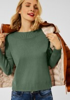 Street One - Softer U-Boot Pullover in Frosty Green