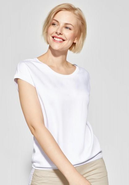 CECIL - Shirt mit Strick-Bordüre in White