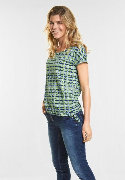 CECIL - Allover Grafik-Print Shirt in Deep Blue