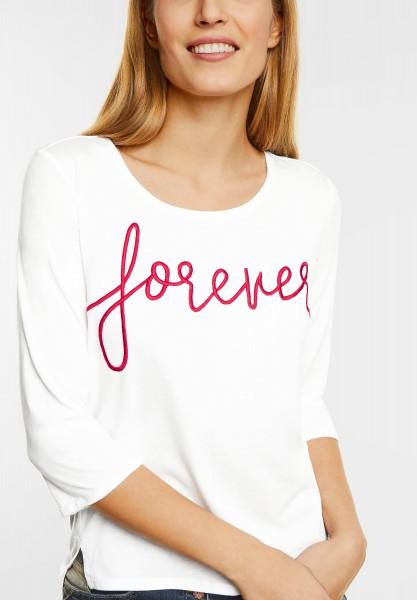 CECIL - Shirt mit Wordingstickerei in Pure Off White