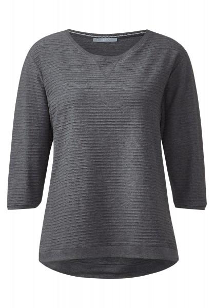 CECIL - Rippstruktur-Shirt Milena Dark Silver Melange