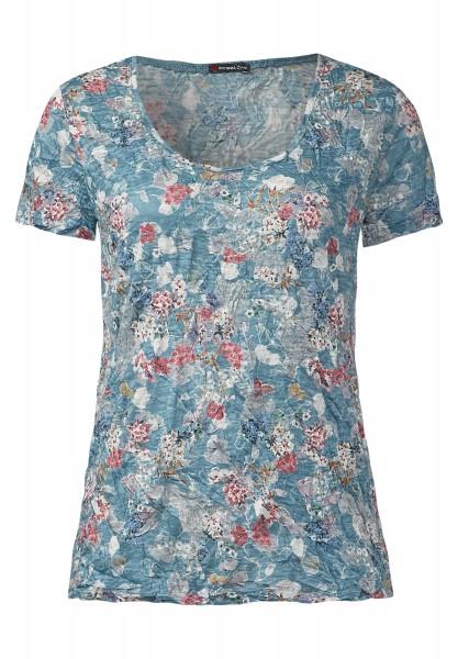 Street One - Flowerprint-Crashshirt Elisa Stone Aqua