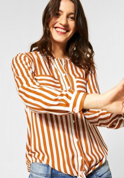 Street One - Bluse mit Streifenmuster in Foxy Caramel
