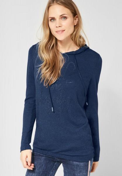 CECIL - Hoodie Shirt mit Strass in Deep Blue Melange