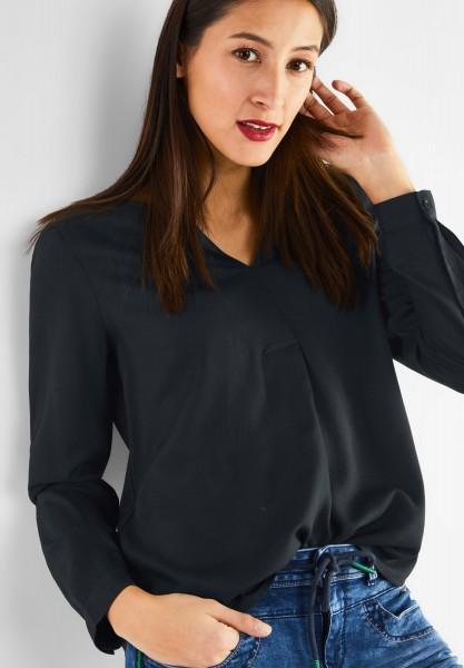 Street One - Bluse mit V-Ausschnitt in Neo Grey