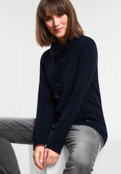 CECIL - Longshirt im Hoodie-Style in Deep Blue