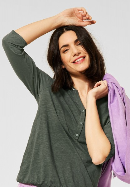 CECIL - Shirt mit Flammgarn in Soft Khaki