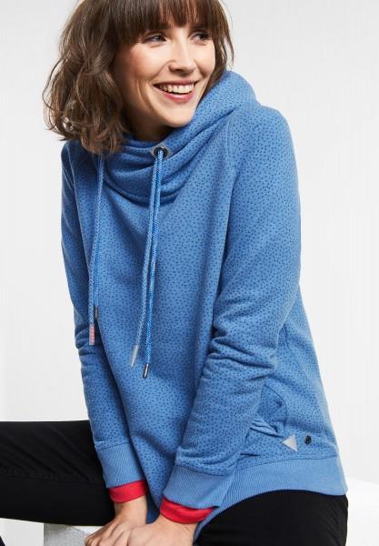 CECIL - Hoodie Pullover mit Punkten in Cornflower Blue Melange