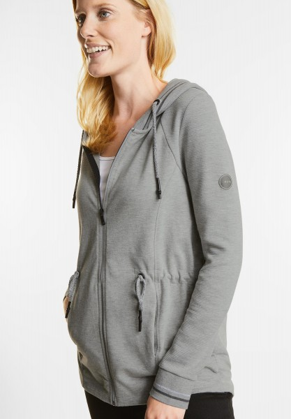 CECIL - Lange Strukturmix Sweatjacke in Light Grey Melange