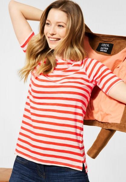Raglan T-Shirt mit Streifen in Papaya Orange