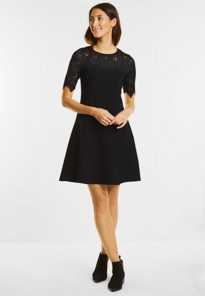 Street One - Jersey Kleid mit Spitze in Black