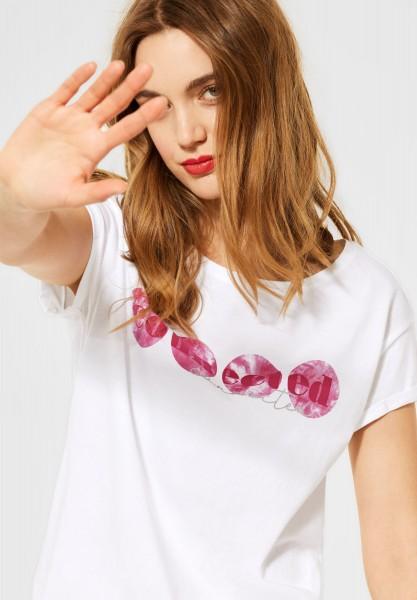 Street One - T-Shirt mit Partprint in White