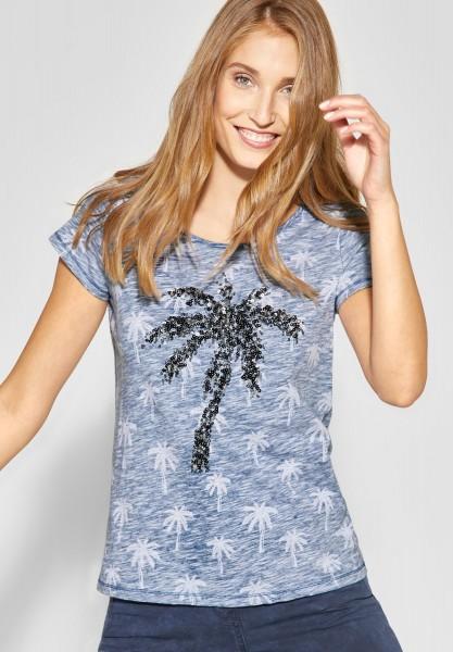 CECIL - Pailletten Shirt mit Palmen in Deep Blue