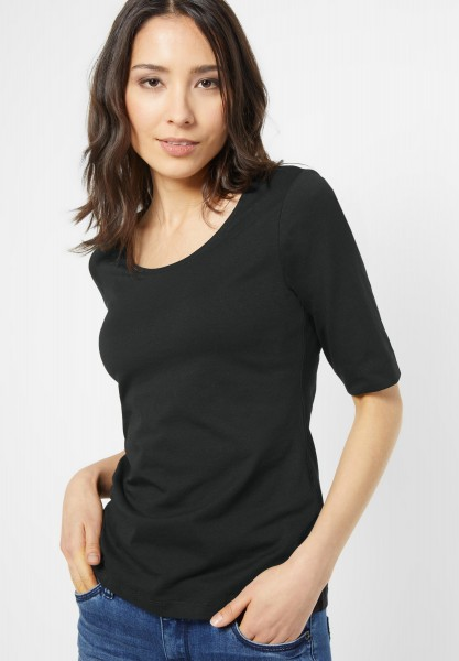 Street One - Organic Halbarm Shirt Lenka in Black