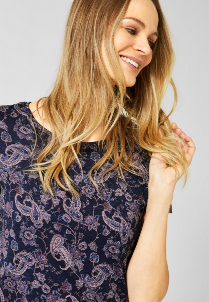 CECIL - T-Shirt mit Paisley-Muster in Deep Blue