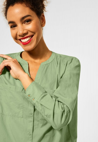 Street One - Bluse in Unifarbe in Faded Green