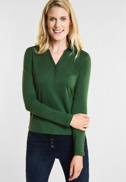 CECIL - Longsleeve Polo-Shirt in Fresh Meadow Green