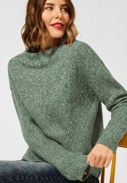 Street One - Pullover in Ripp Optik in Frosty Green Melange