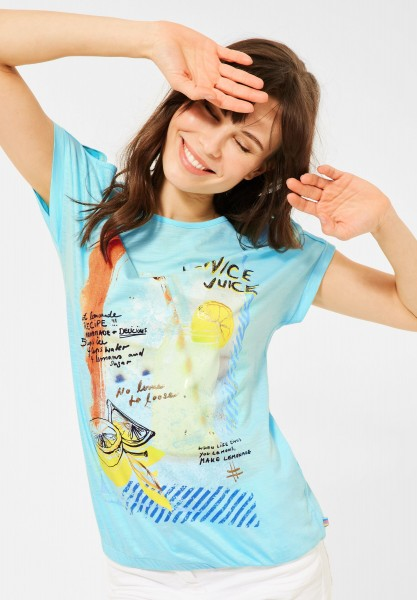 CECIL - T-Shirt mit Print in Water Ballet Blue