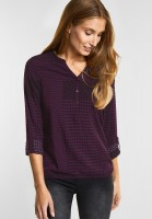 CECIL Patchwork Print Bluse in Deep Berry