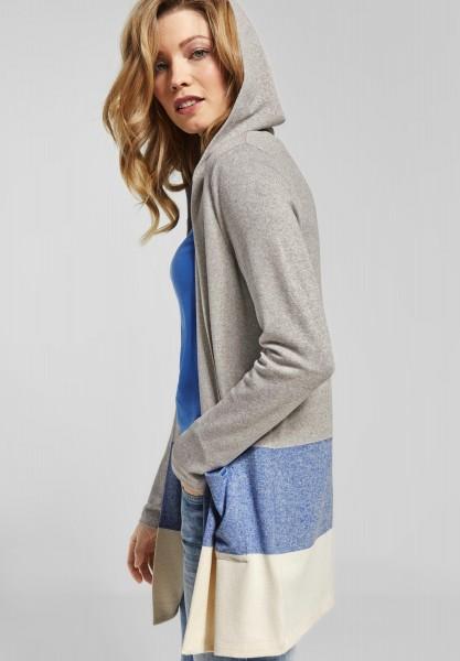 CECIL - Softe Shirtjacke mit Kapuze in Cornflower Blue Melange
