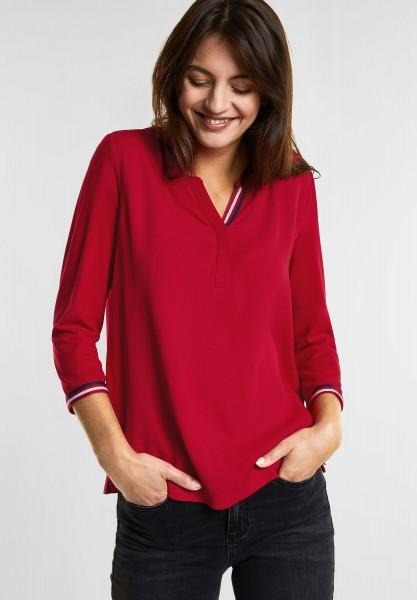Street One - Matmix-Shirt mit Streifen in Pure Red