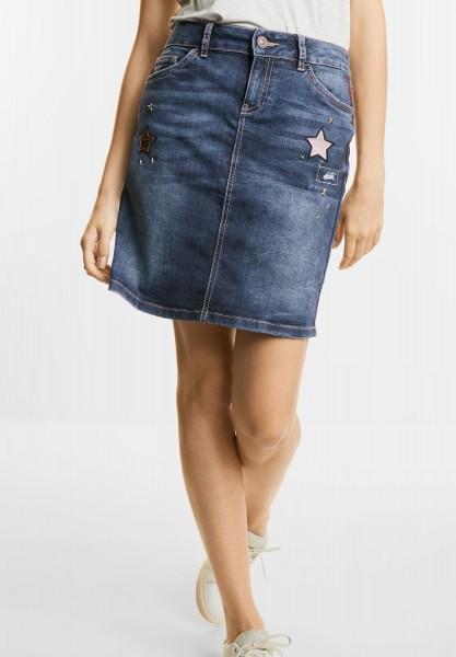 Street One - Jeans Minirock mit Sternen in Brilliant Blue Fancy Wash