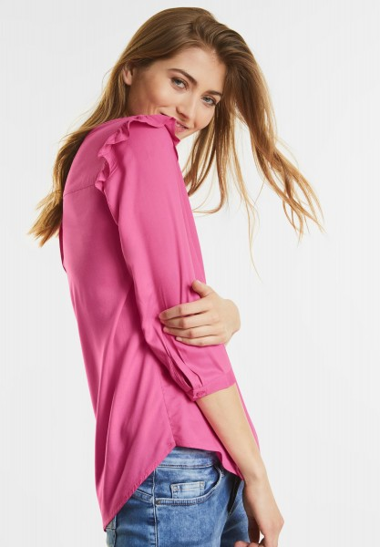 Street One - Weiche Bluse mit Volants in Flamingo Pink