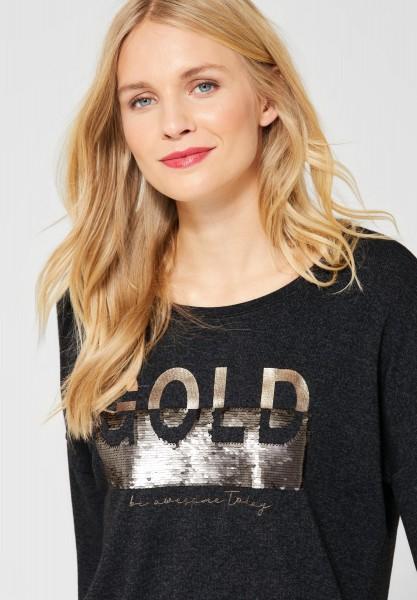 Street One - Shirt mit Wendepailletten in Anthracite Melange