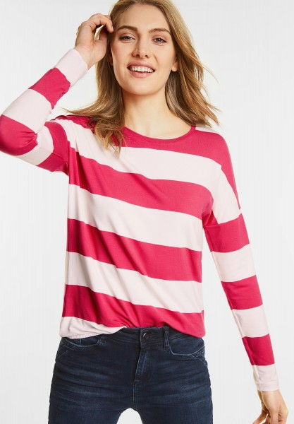 Street One - Streifen Langarm Shirt in Colada Pink