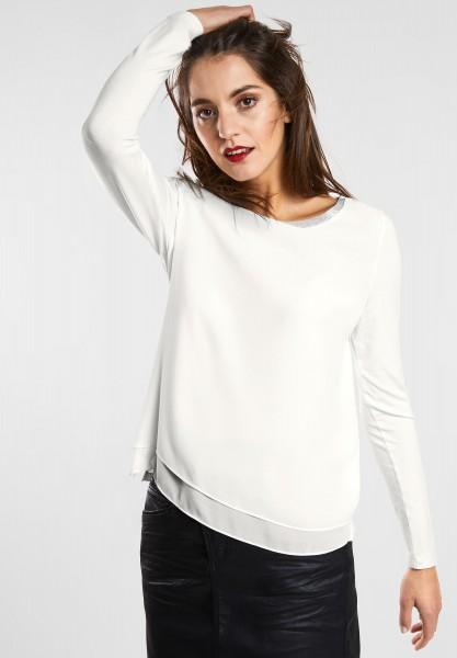 Street One - Chiffon Shirt mit Glitzer in Off White