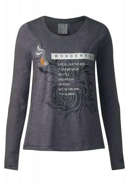 CECIL - Langarmshirt mit Glanzprint in Dark Silver