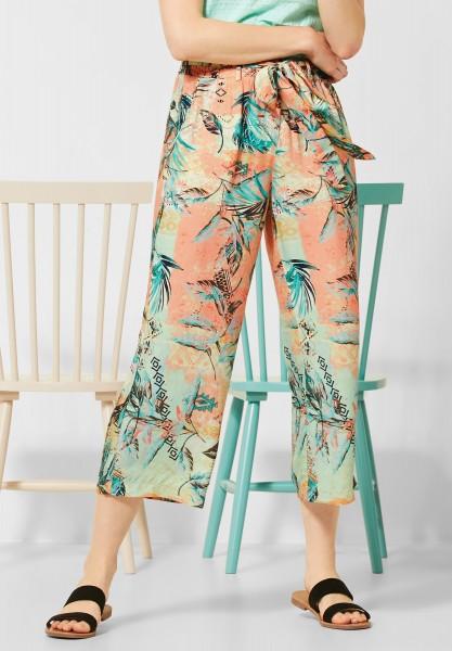 CECIL - Wide Leg Hose mit Muster in Cantaloupe Orange