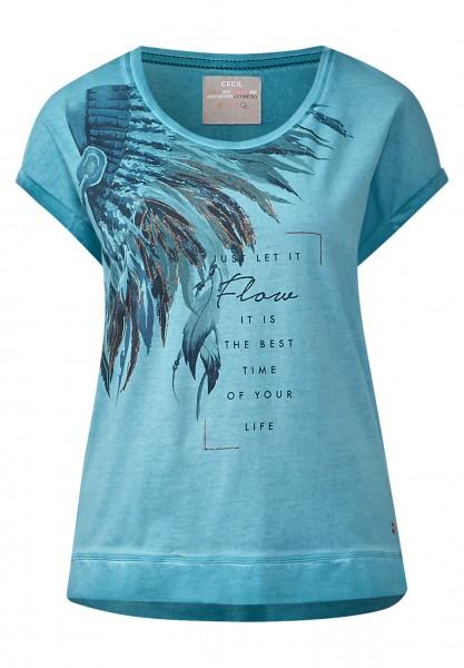 CECIL - Washed-Look Printshirt Blue Topaz