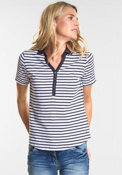 CECIL - Weiches Streifen Polo-Shirt in White