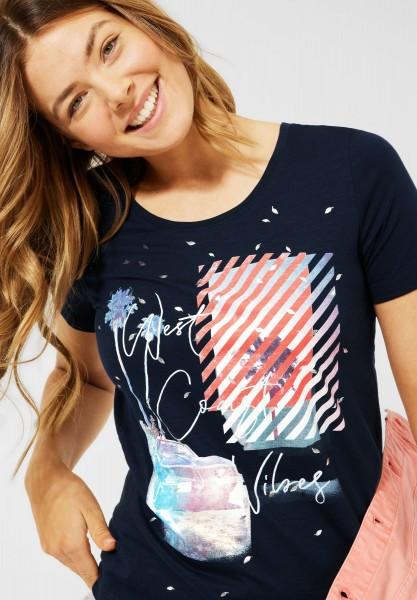 CECIL - T-Shirt mit Print in Deep Blue