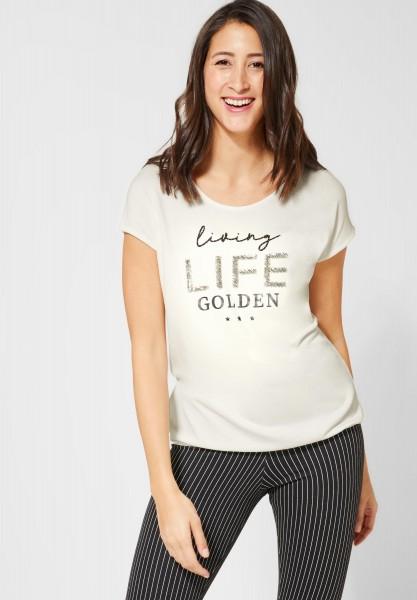 Street One - T-Shirt mit Schriftzug in Off White
