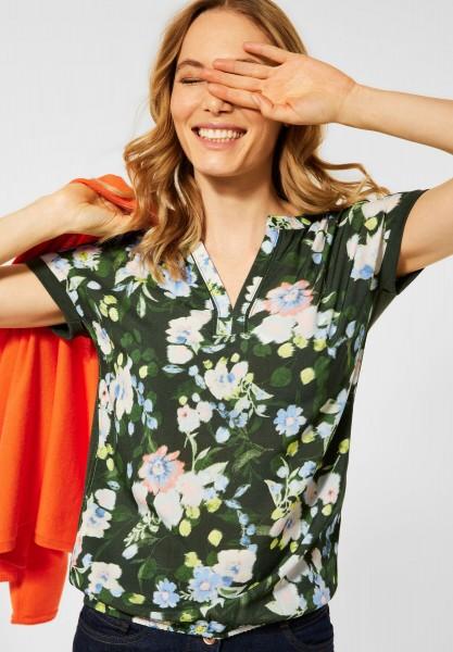 CECIL - T-Shirt mit Blumen Print in Utility Olive