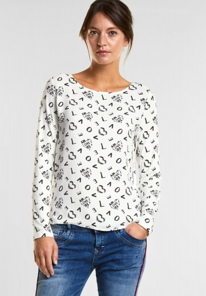 Street One Allover Print Shirt Ulrika in off White