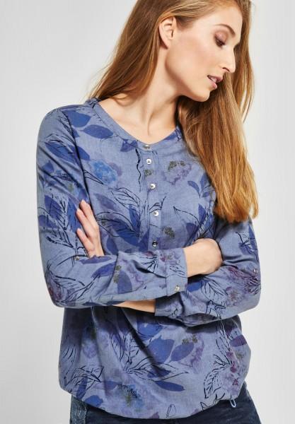 CECIL - Melange Bluse mit Blumen in Powder Blue Melange