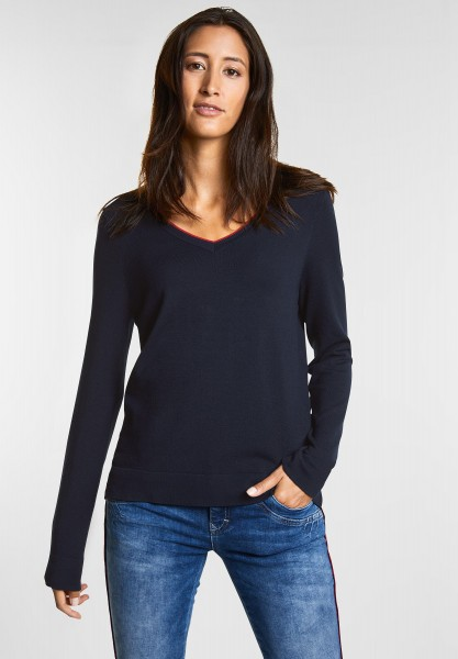 Street One - Lässiger Pulli mit V-Neck in Deep Blue