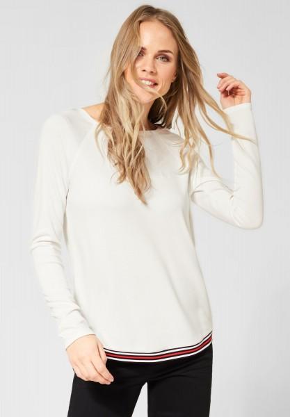 CECIL - Shirt mit Streifen am Saum in Pure Off White