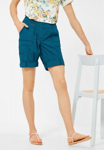 CECIL - Loose Fit Shorts in Unifarbe in Deep Lagoon Blue