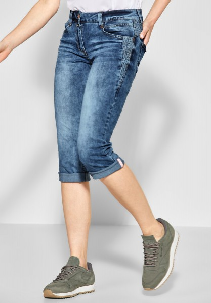 CECIL - Bestickte Denim Scarlett in Mid Blue Used Wash