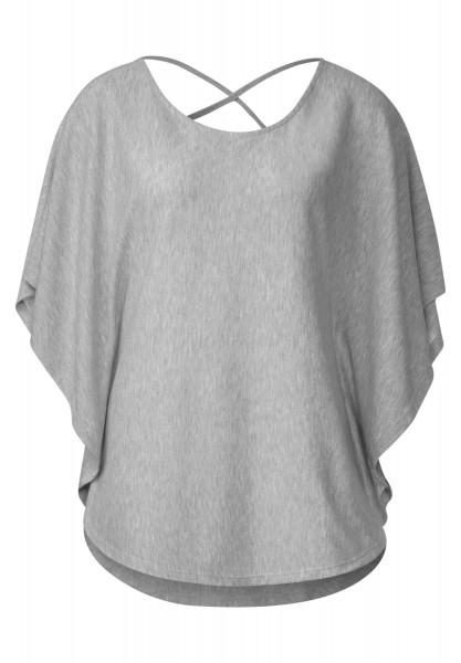 Street One - Einfarbiges Poncho Shirt in Cyber Grey Melange